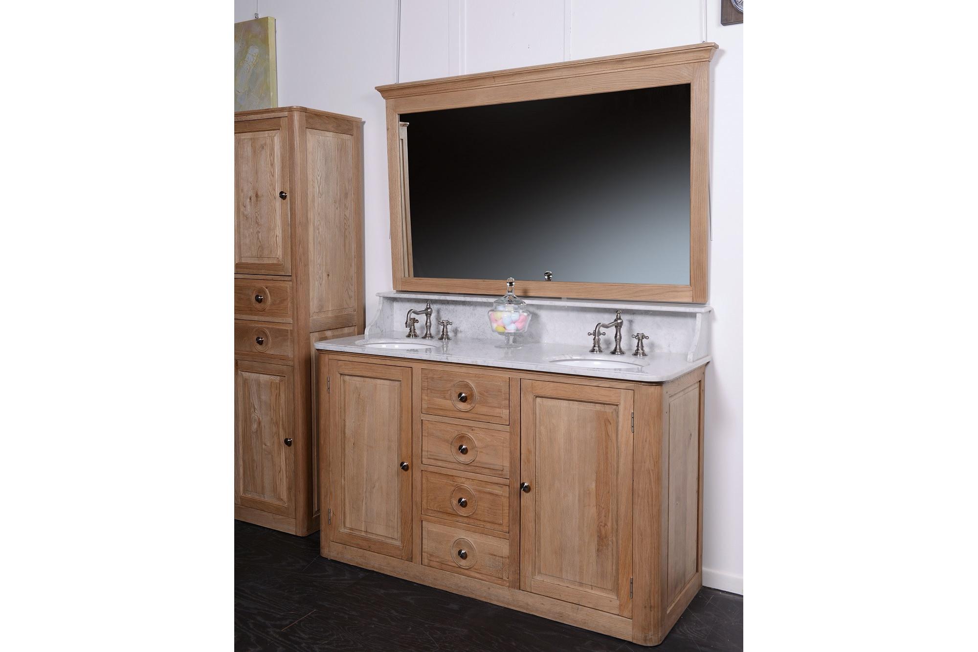 Meuble sdb en bois double vasque louis hellin - Meuble sdb double vasque ...