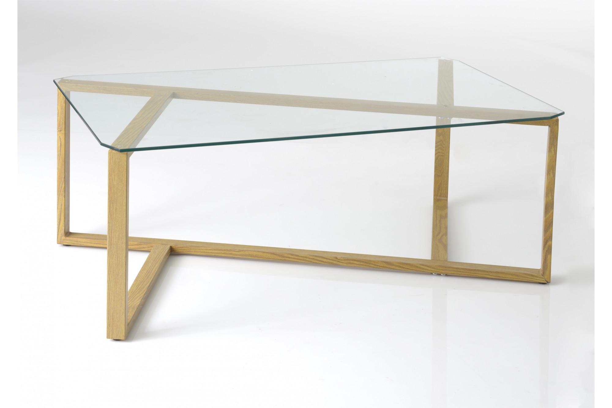 Table Basse Imitation Bois Et Verre Hellin