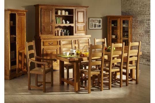 Ensemble table de ferme + 6 chaises + bahut 3 portes LA BRESSE - bois chêne massif