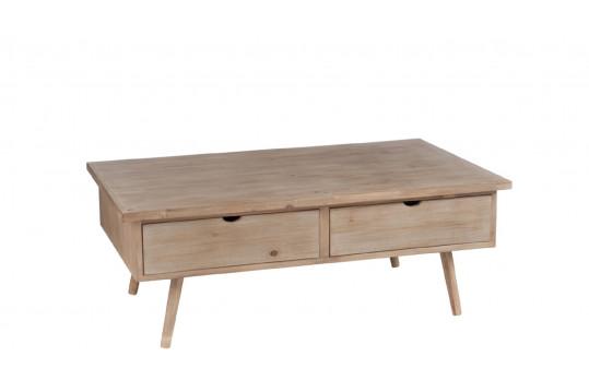 TABLE BASSE 4 TIROIRS BOIS NATUREL - SLIVAN