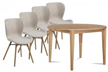 Table ronde pieds fuseau 115 cm VICTORIA + 4 chaises Matilda