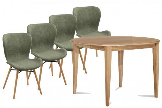 Ensemble Table Victoria pieds Fuseau 105cm + 4 chaises Matilda