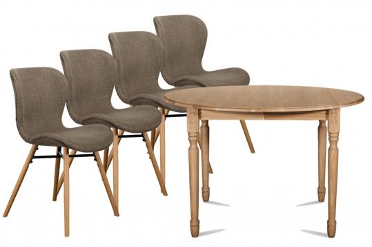 Ensemble Table ronde pieds tournés 105cm + 4 chaises Matilda