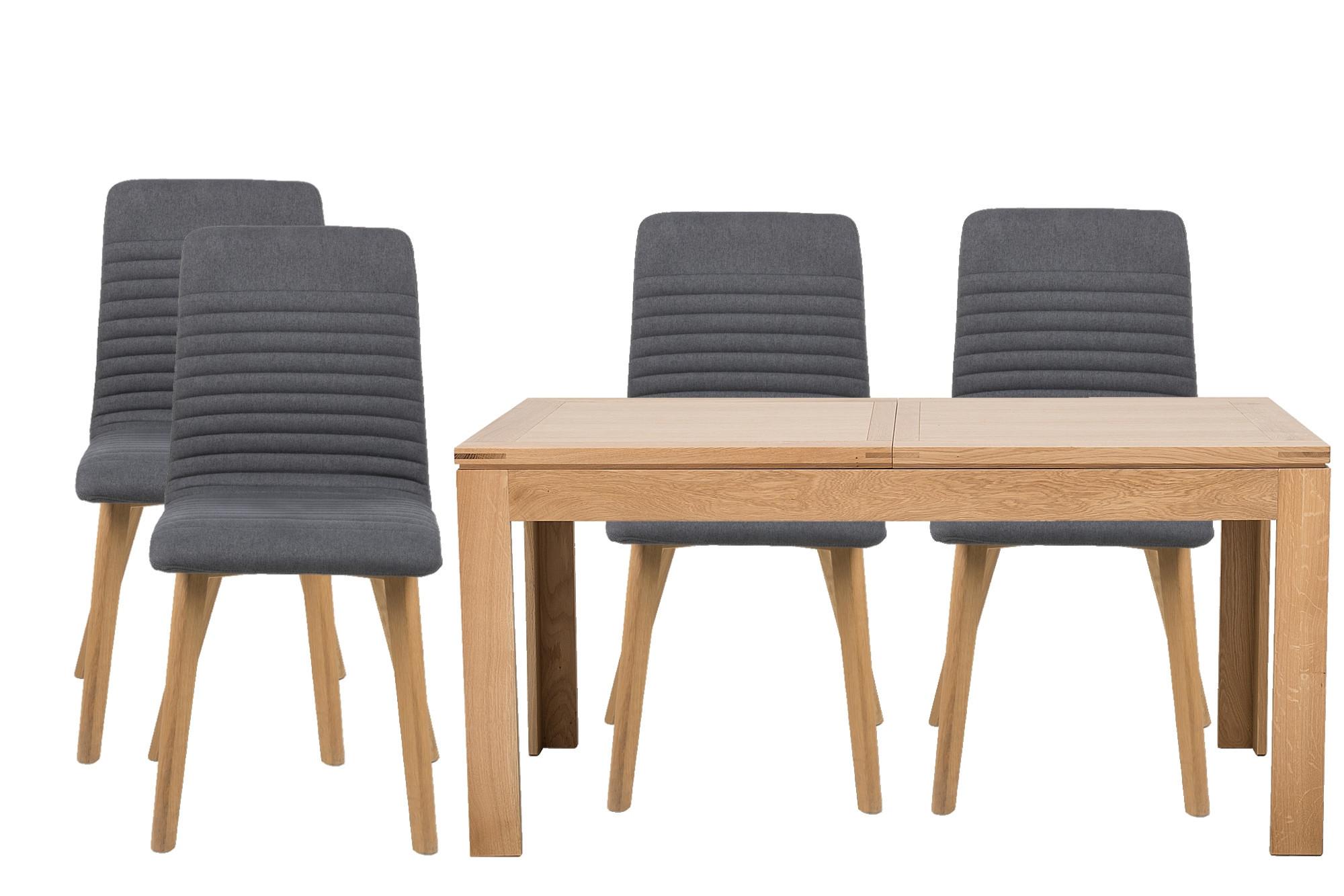 Table rectangulaire en Chêne Boston avec 7 chaises Rosa - Hellin
