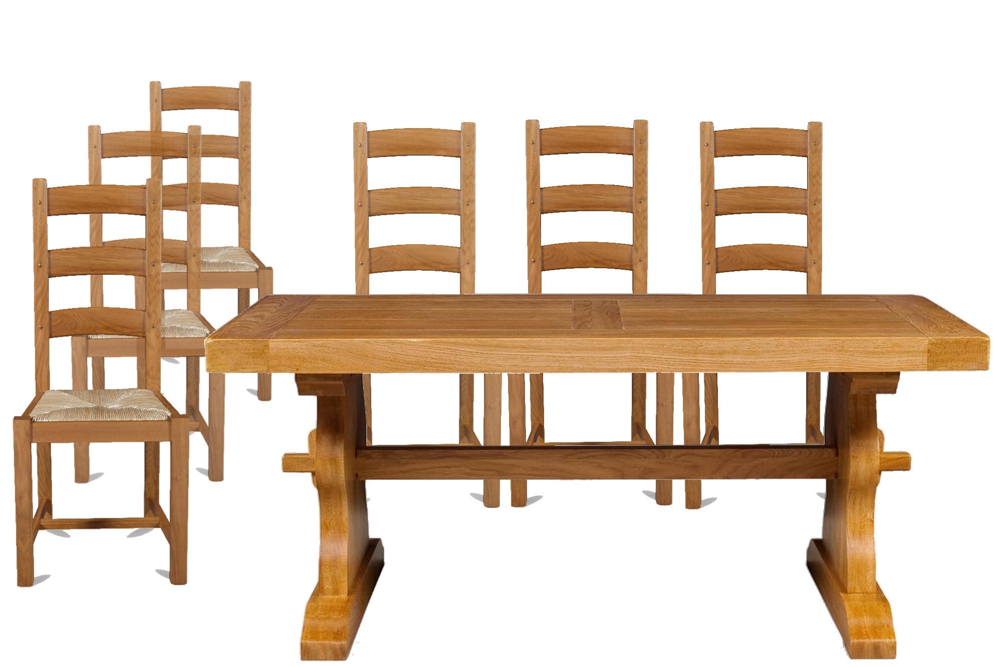 Table d'abbaye et 12 chaises La Bresse en Chêne Moyen   Hellin