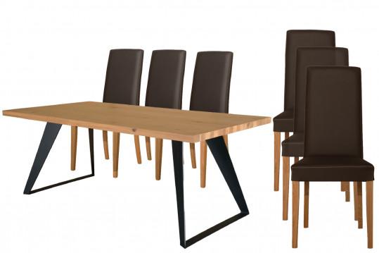 Ensemble Table Filigrame + 6 chaises en cuir Nancy