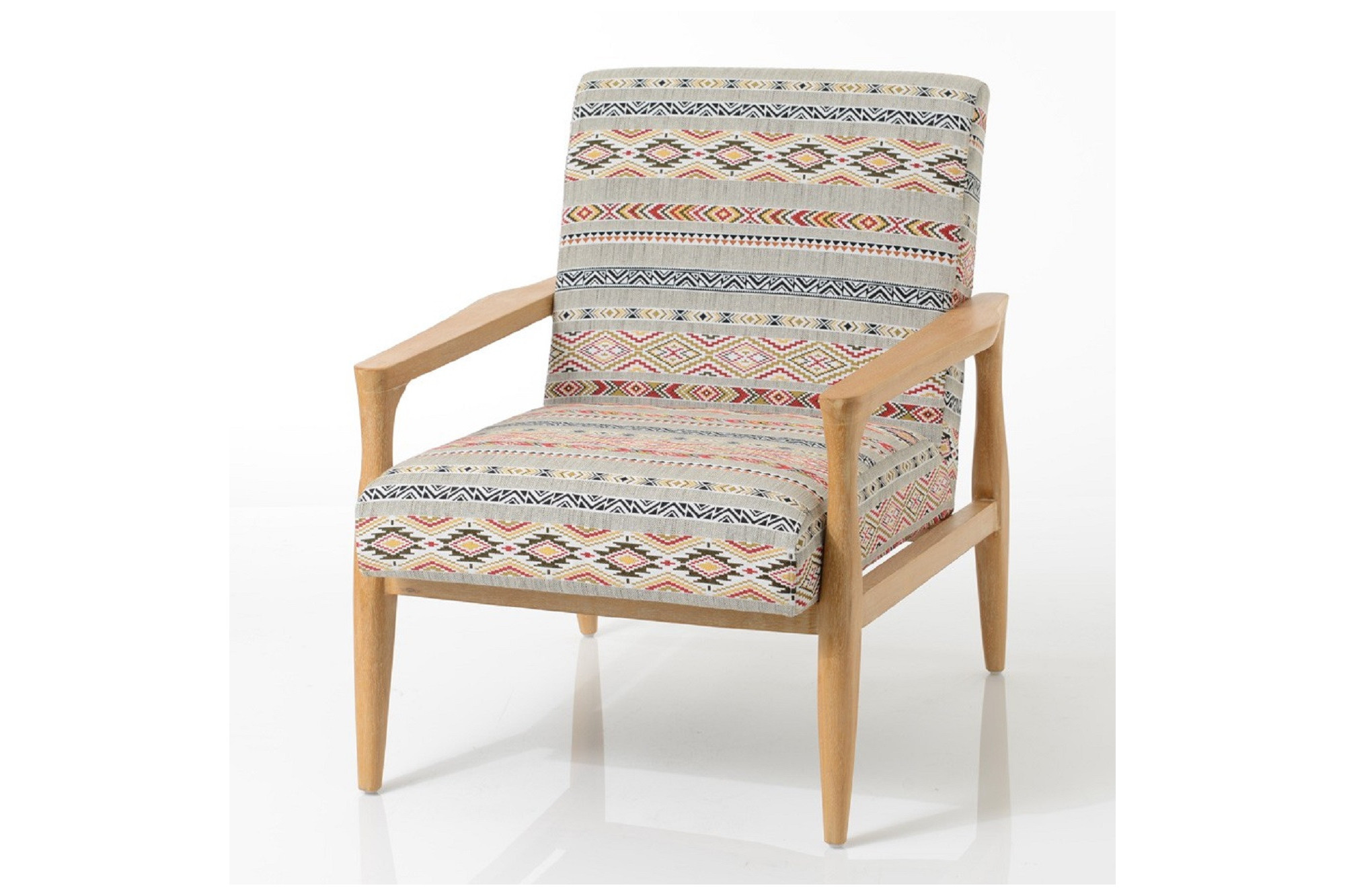 fauteuil en bois et tissu hindy hellin. Black Bedroom Furniture Sets. Home Design Ideas