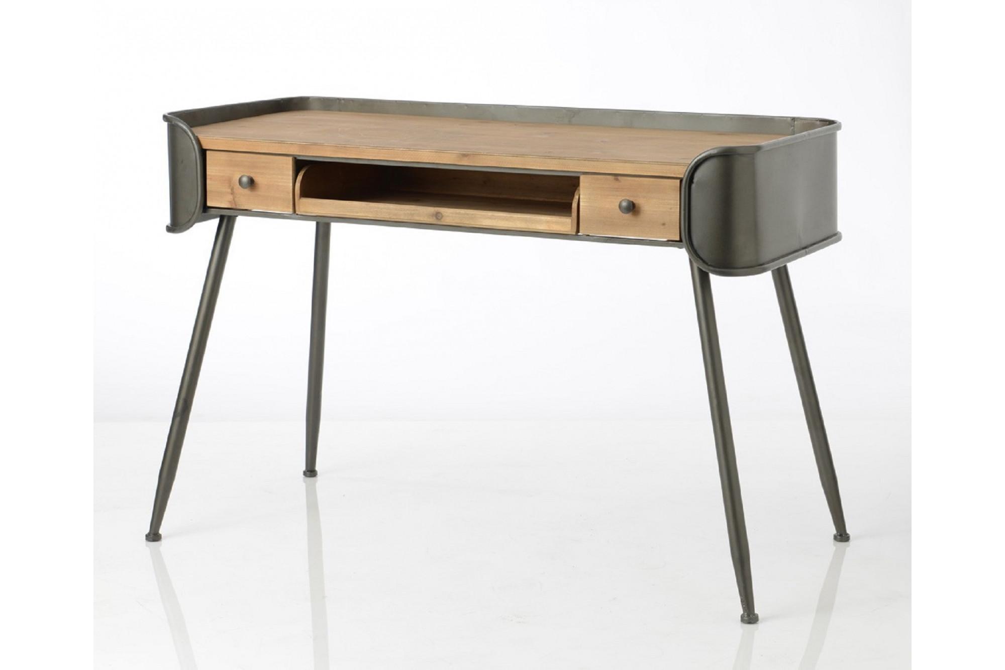 Bureau en bois naturel métal style atelier hellin