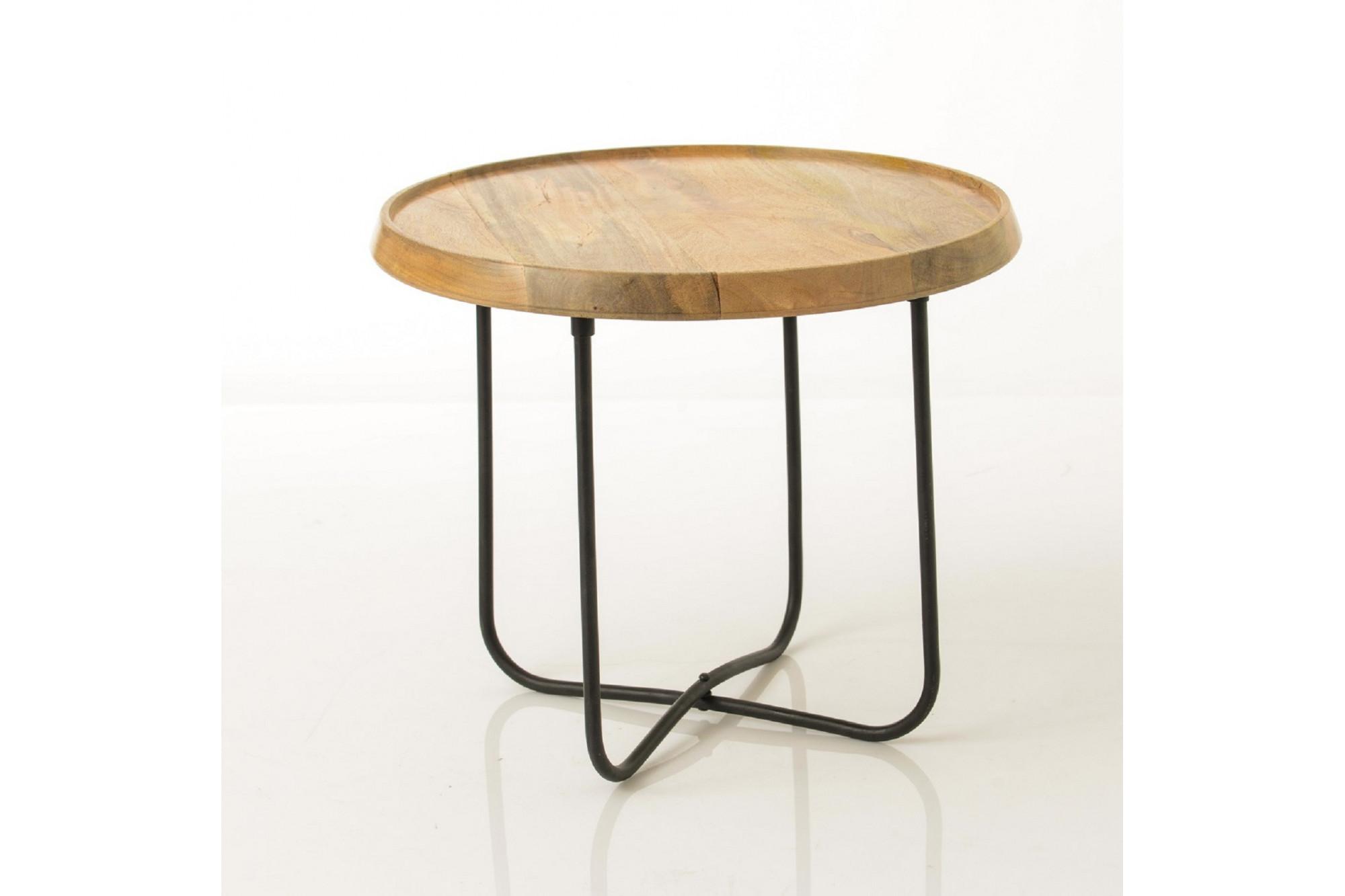 économiser deb35 f1a6c Table basse ronde de salon en bois et métal - Hellin