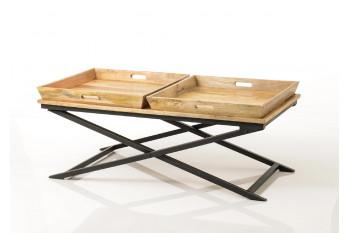 Table basse en bois massif et métal - APOLLINE