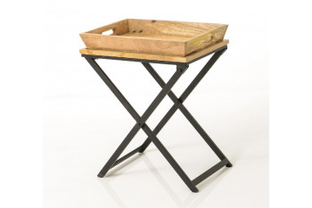 Bout de canapé bois massif et métal - APOLLINE
