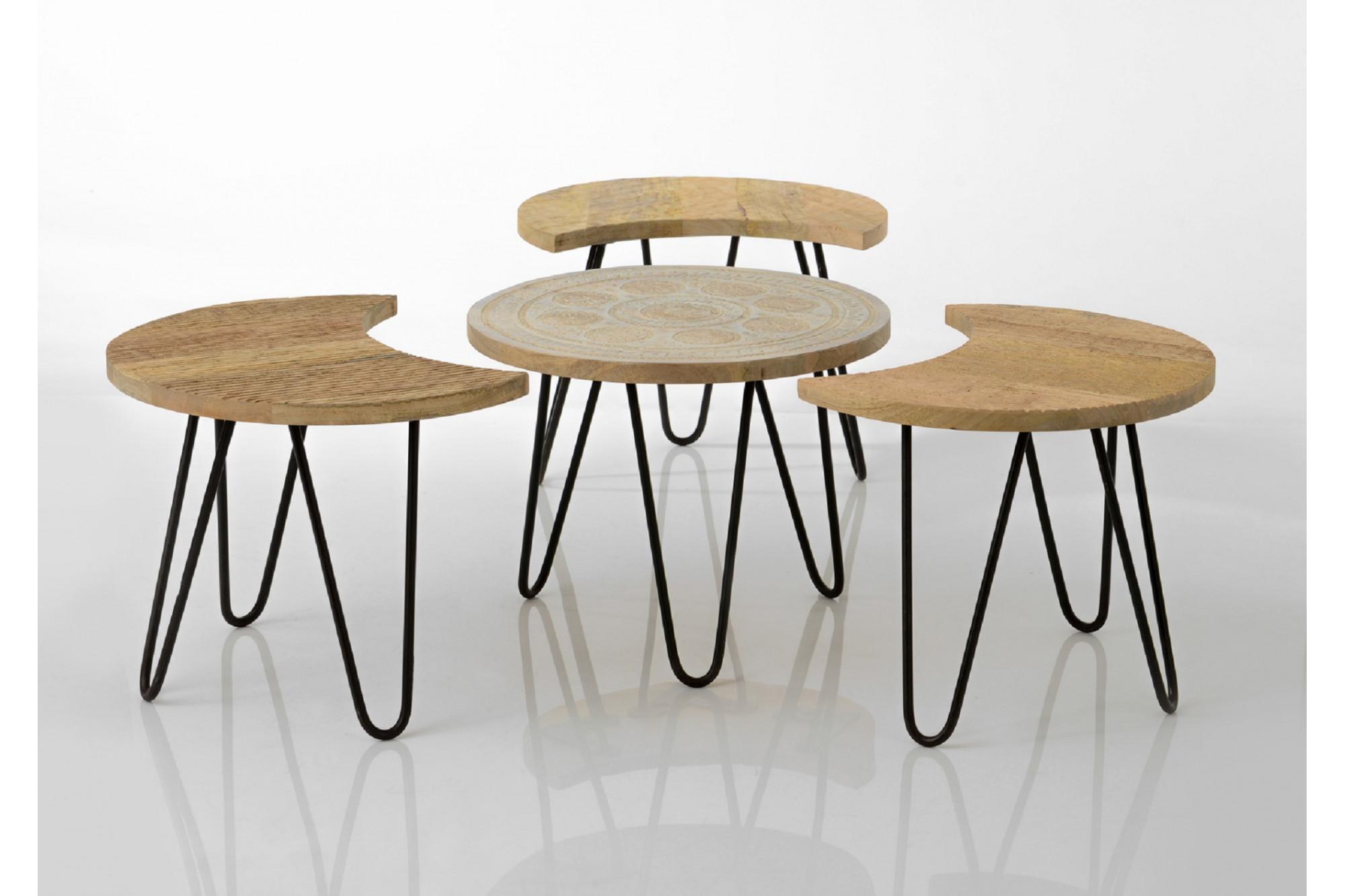 table basse ethnique en bois et m tal hellin. Black Bedroom Furniture Sets. Home Design Ideas