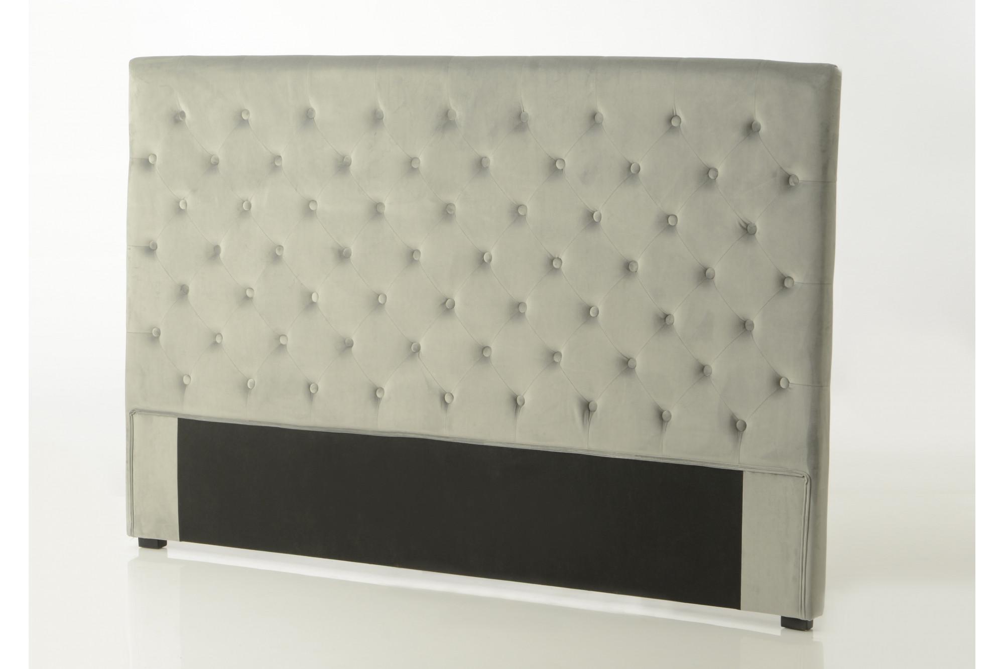 d40b9d6b05f2f Tête de lit en velours gris 180 cm - Hellin