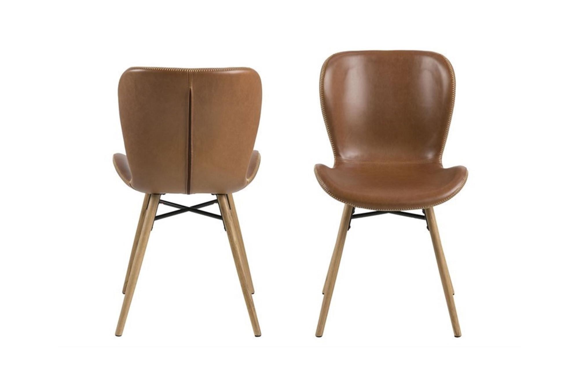 Lot de 2 chaises scandinaves en simili cuir et bois hellin - Chaise bois flotte ...