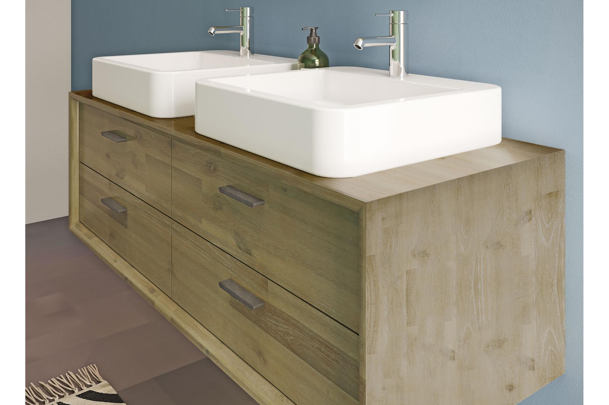 Meuble de salle de bain en bois massif 120 cm avec vasques et miroir ...