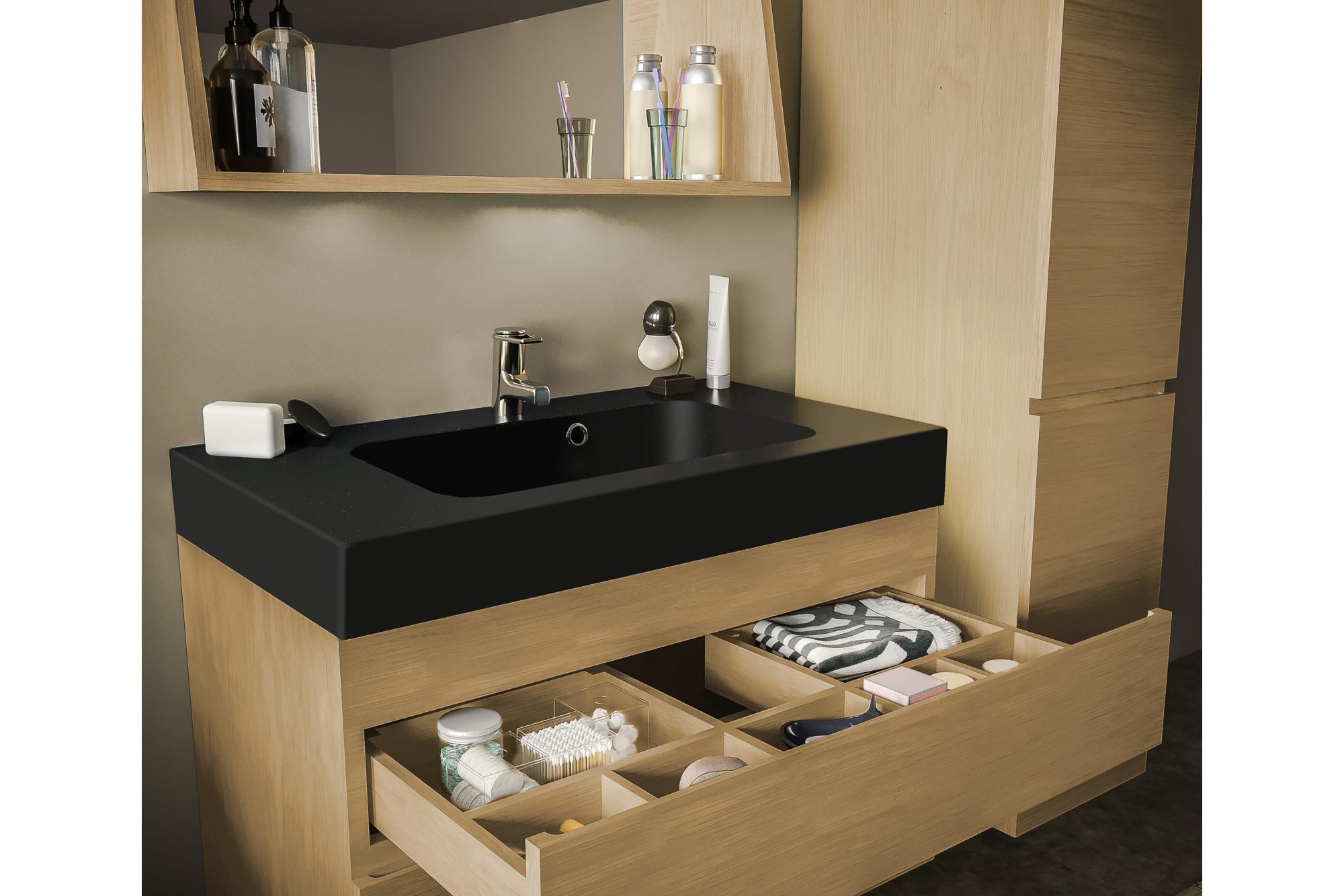 Salle De Bain Avec Bois meuble de salle de bain en bois massif avec sa vasque noir mat - hellin