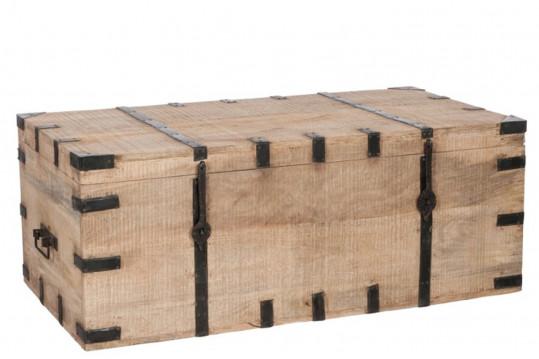 Coffre de rangement en bois et métal - 116 cm