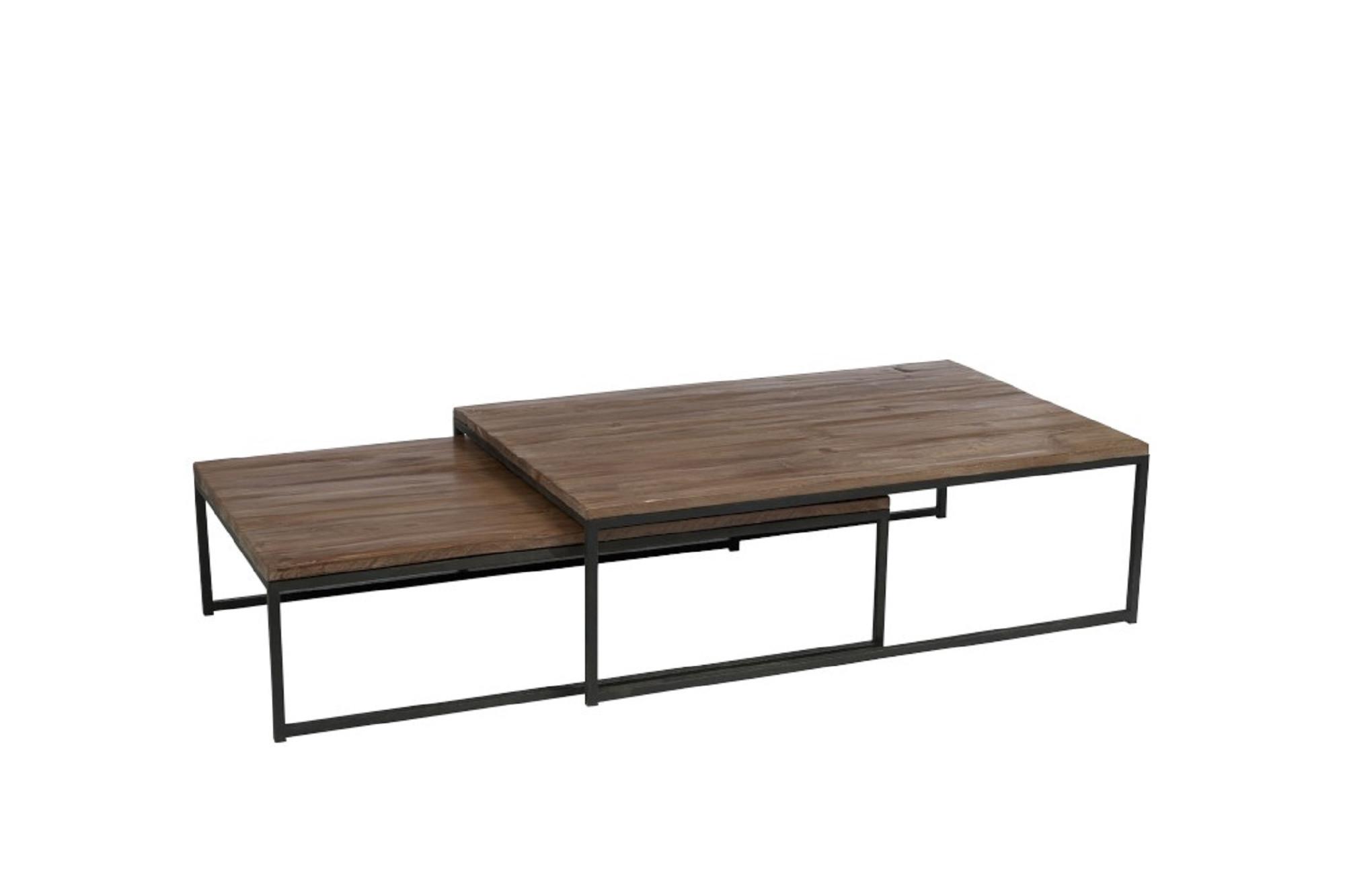 Tables basses industrielles imbriquées, en bois brut et métal - Hellin