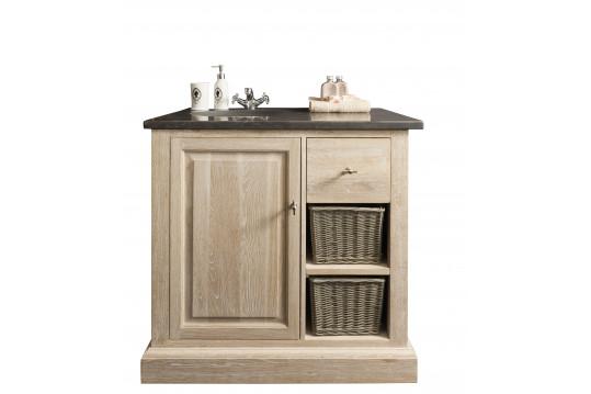 Meuble de salle de bain en chêne blanchi - vasque simple en pierre - VÉRONE