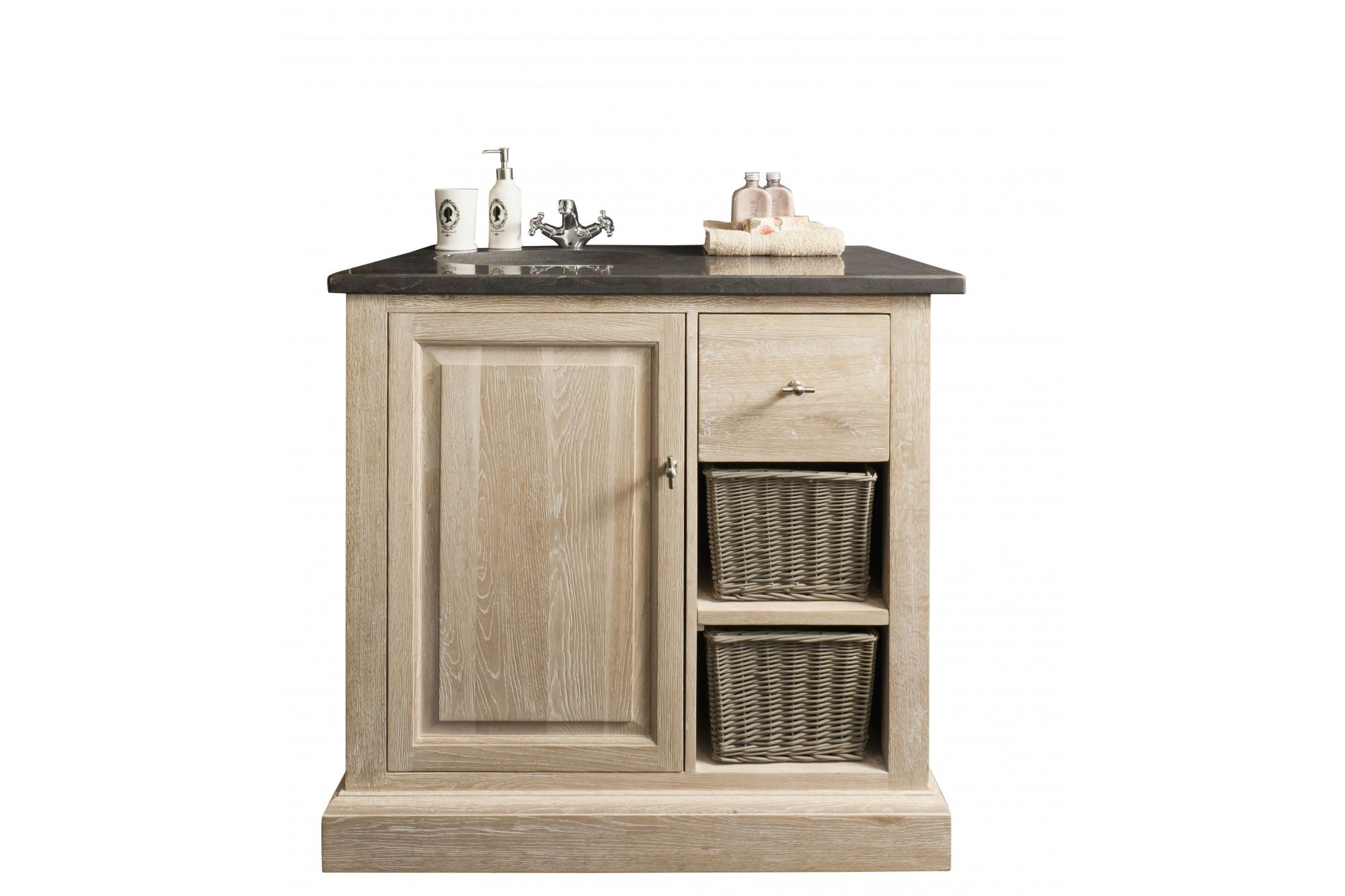 Meuble De Salle De Bain Osier meuble de salle de bain en chêne massif avec plan en pierre - hellin