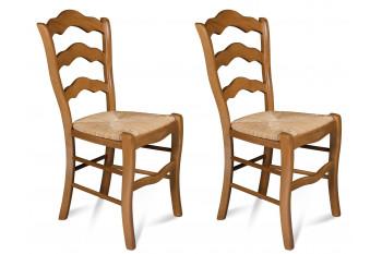 Chaises Oxford - Assise Paille- chêne moyen (Lot de 2)