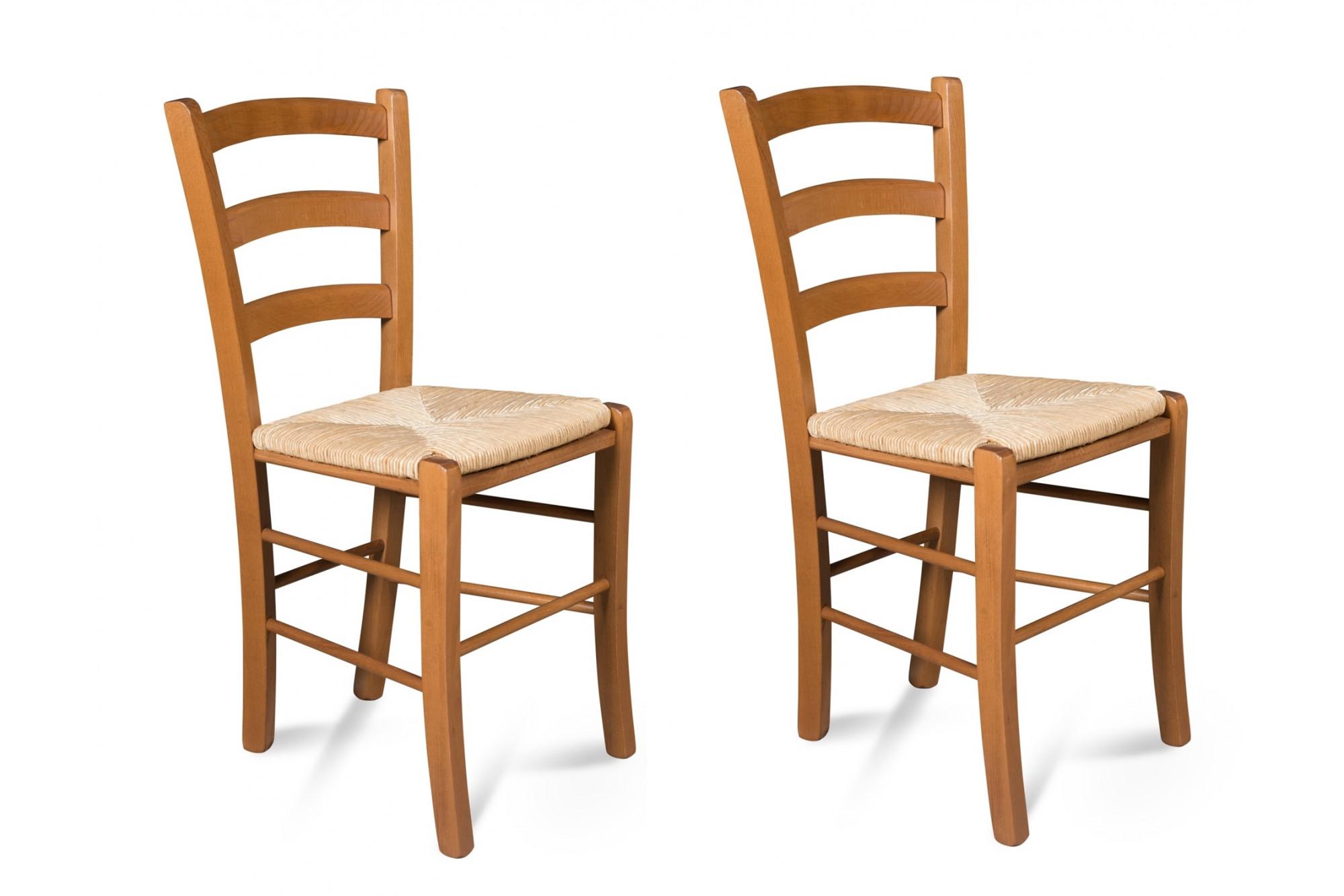 Chaise assise paille et structure bois Tina : lot de 2 Hellin