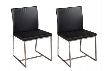 Chaises en cuir et alu - OTTO (Lot de 2)