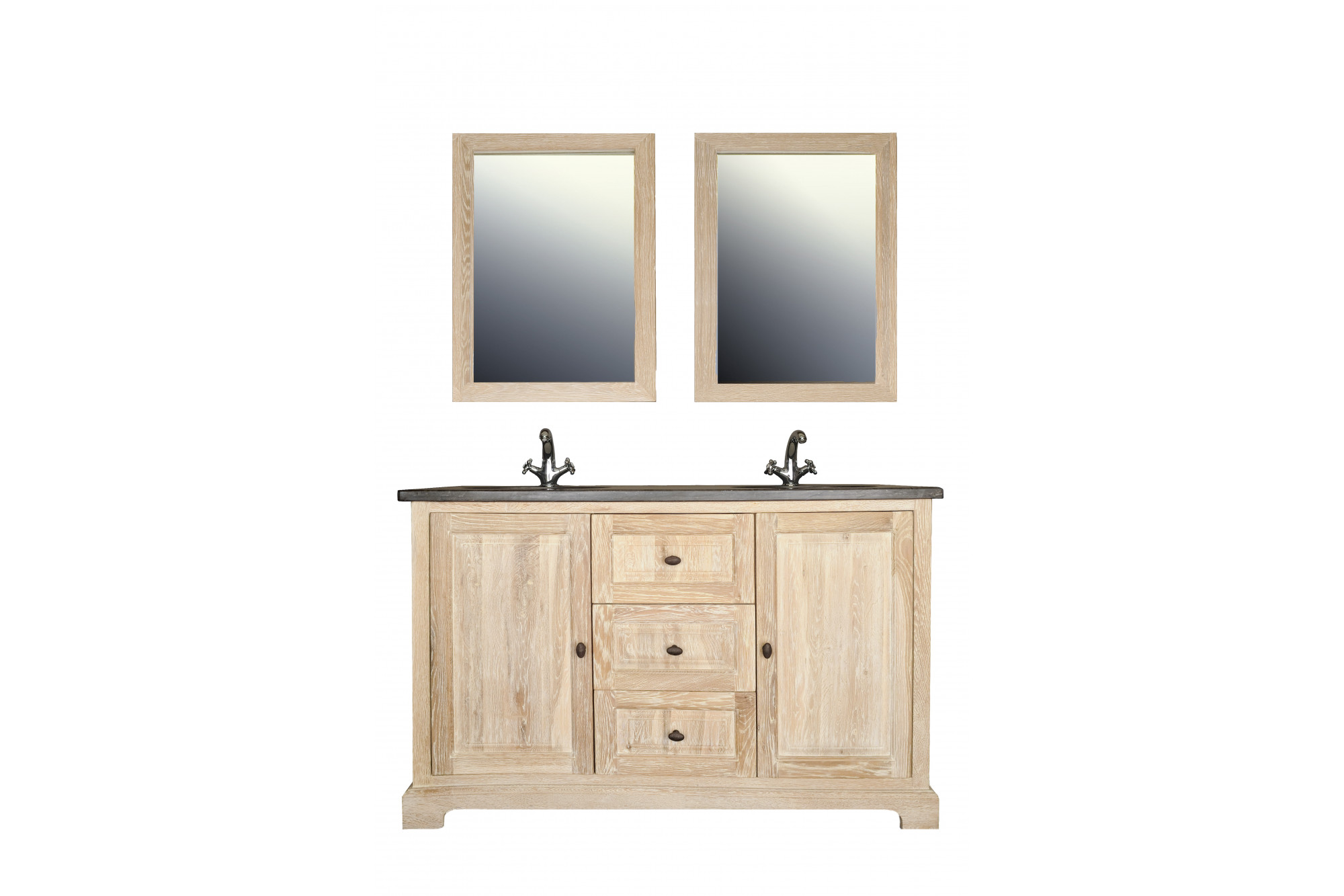 ensemble salle Ensemble de salle de bain en chêne massif blanchi, avec double vasque -  Hellin