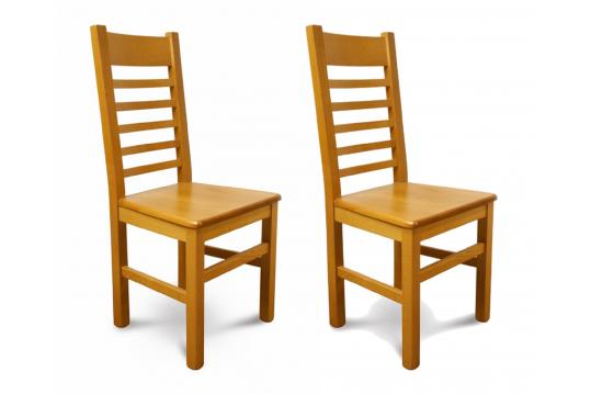 Chaises bois massif - chêne clair (Lot de 2)