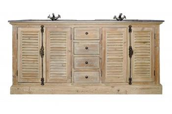 Meuble de salle de bain en bois persiennes - double vasque - HANOÏ