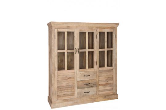 Vitrine Bistrot 2 portes en bois naturel