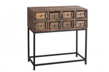 Console en bois 8 tiroirs sur pieds métal