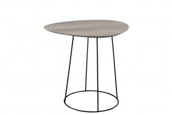 Bout de canapé ovale en bois et métal - PEARL
