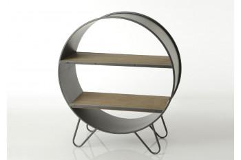 Bibliothèque industrielle ronde en bois et métal