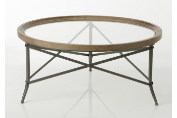 Table basse ronde en bois et plateau verre - CADOUE