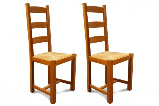 Chaise en bois massif riga assise paille lot de 2 hellin - Chaise bois flotte ...