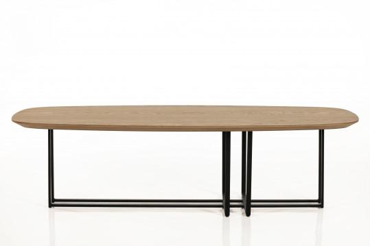 TABLE BASSE MODERNE ELLIPSE EN BOIS ET METAL
