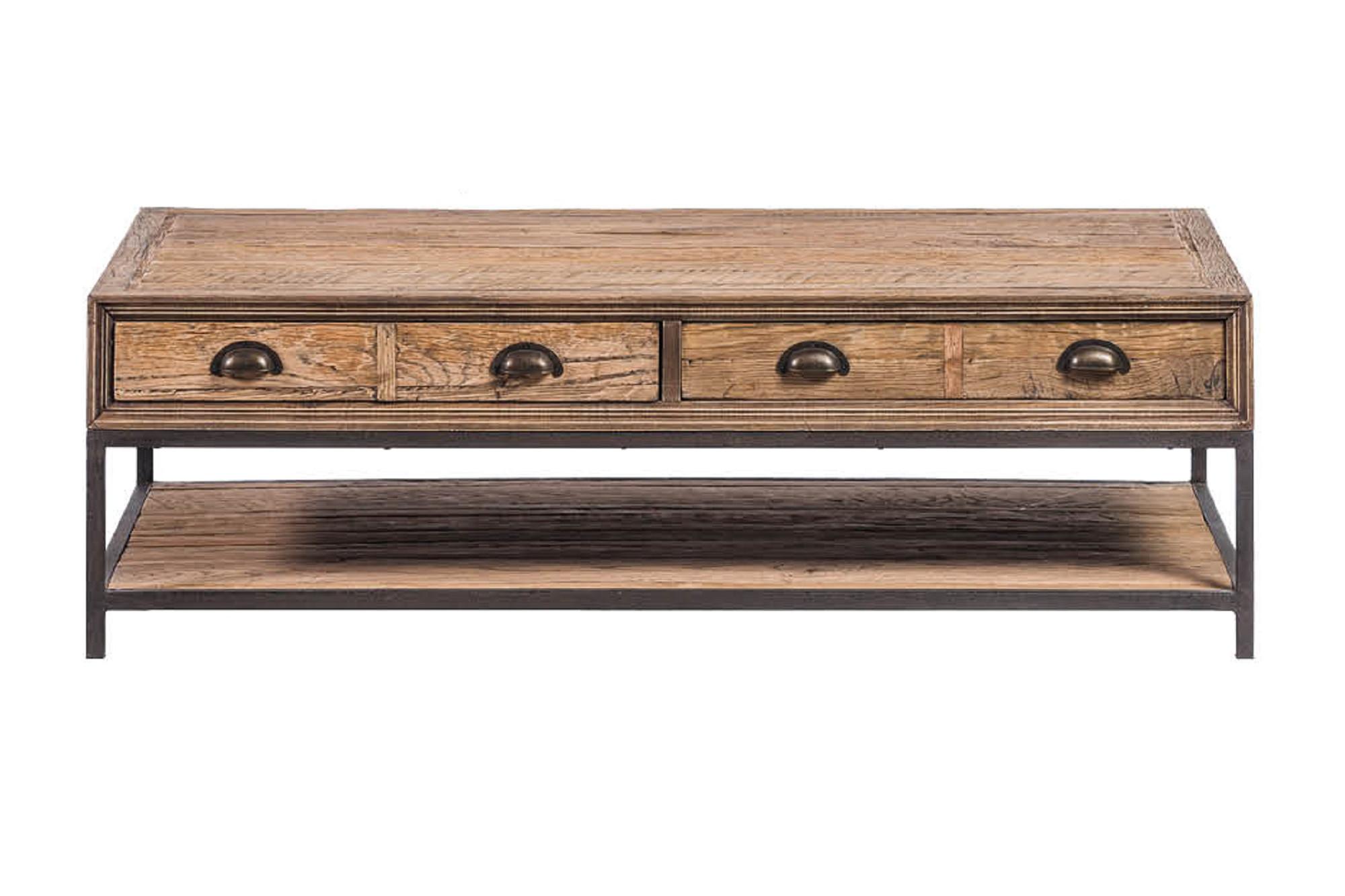 Table de salon en chêne recyclé finition cirée - Hellin