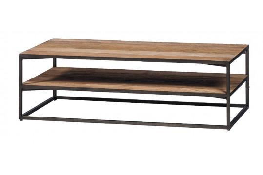 Table basse 2 niveaux en teck et métal noir - X-TRA