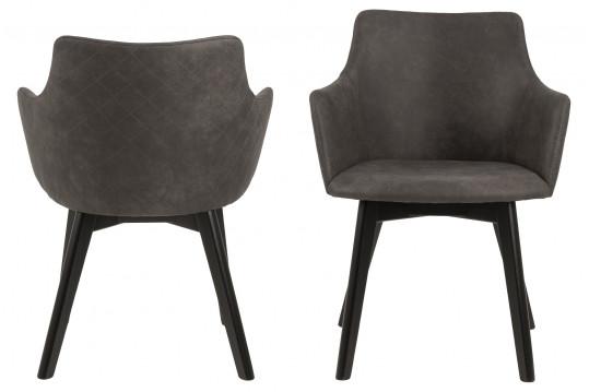 Chaises en tissus pieds en chêne noirs (Lot de 2)  - HARLEQUIN