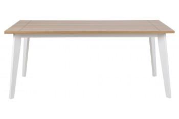 Table en bois et pieds laqué blanc - MERYL