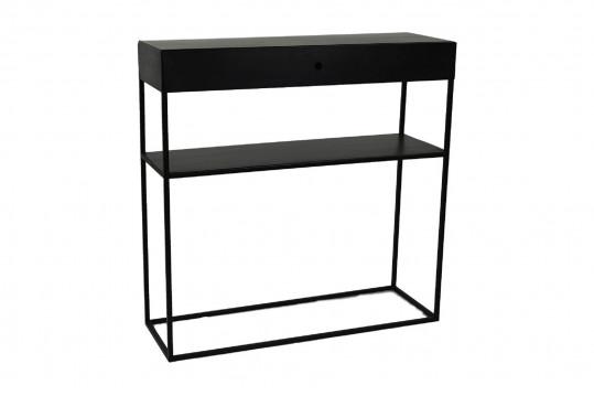 Console en métal noir 1 tiroir / 1 étagère - ISIS