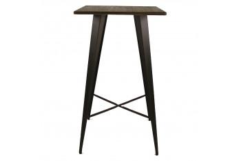Table bar carré en bois et métal - LITO