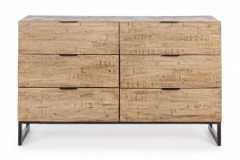 Buffet en bois et métal 6 tiroirs - ARDEN