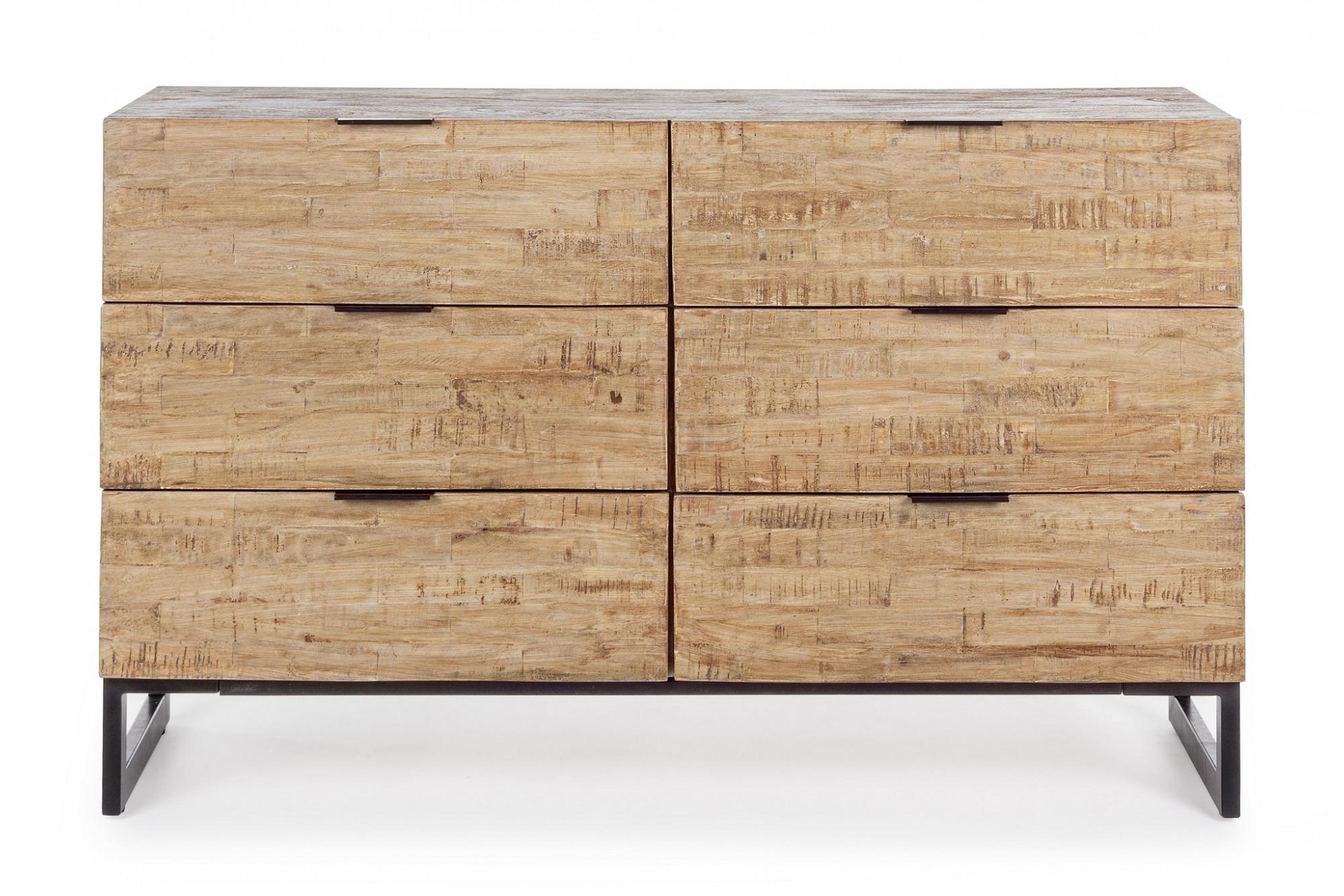 Commode Chambre Style Industriel buffet en bois et métal style industriel : 6 tiroirs - hellin