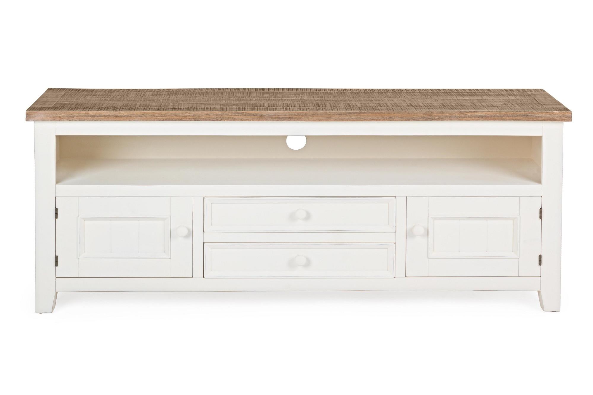 meuble tv blanc en bois 2 portes et 2 tiroirs hellin