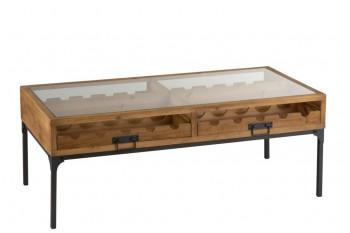 Table basse industrielle porte-bouteilles bois et métal