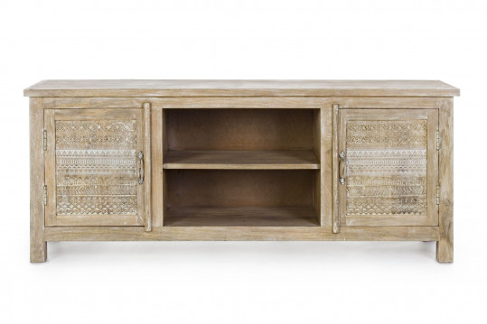 Meuble TV bas en bois naturel - Maya