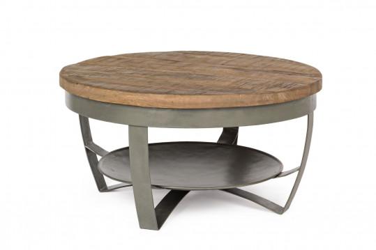 table basse ronde en bois et métal