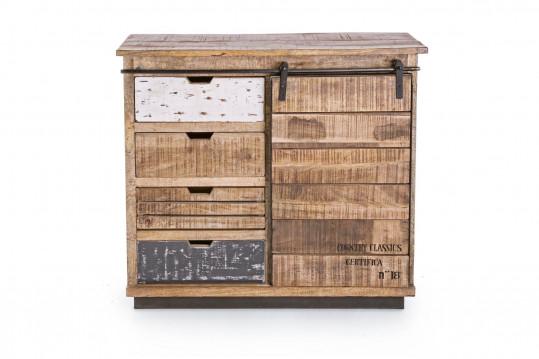 Buffet 1 porte 4 tiroirs bois et métal - HARLEM